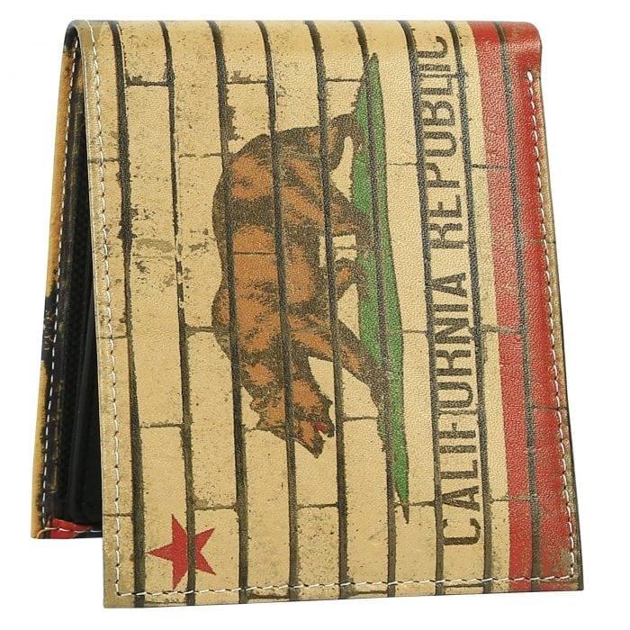 california flag mens wallet red